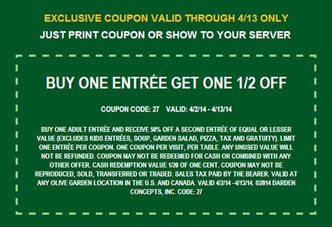 Olive Garden Buy 1 Get 1 50 Off
