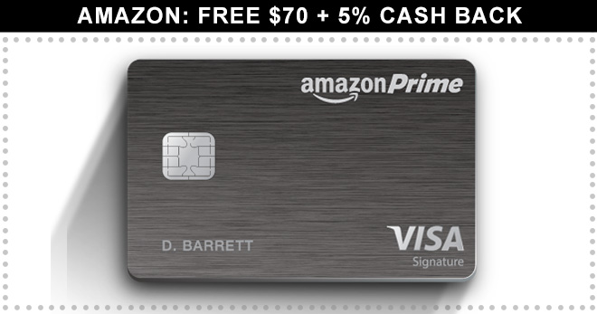 amazon credit card  free  70   5  back